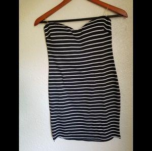 Dresses & Skirts - Black and white striped mini strapless dress